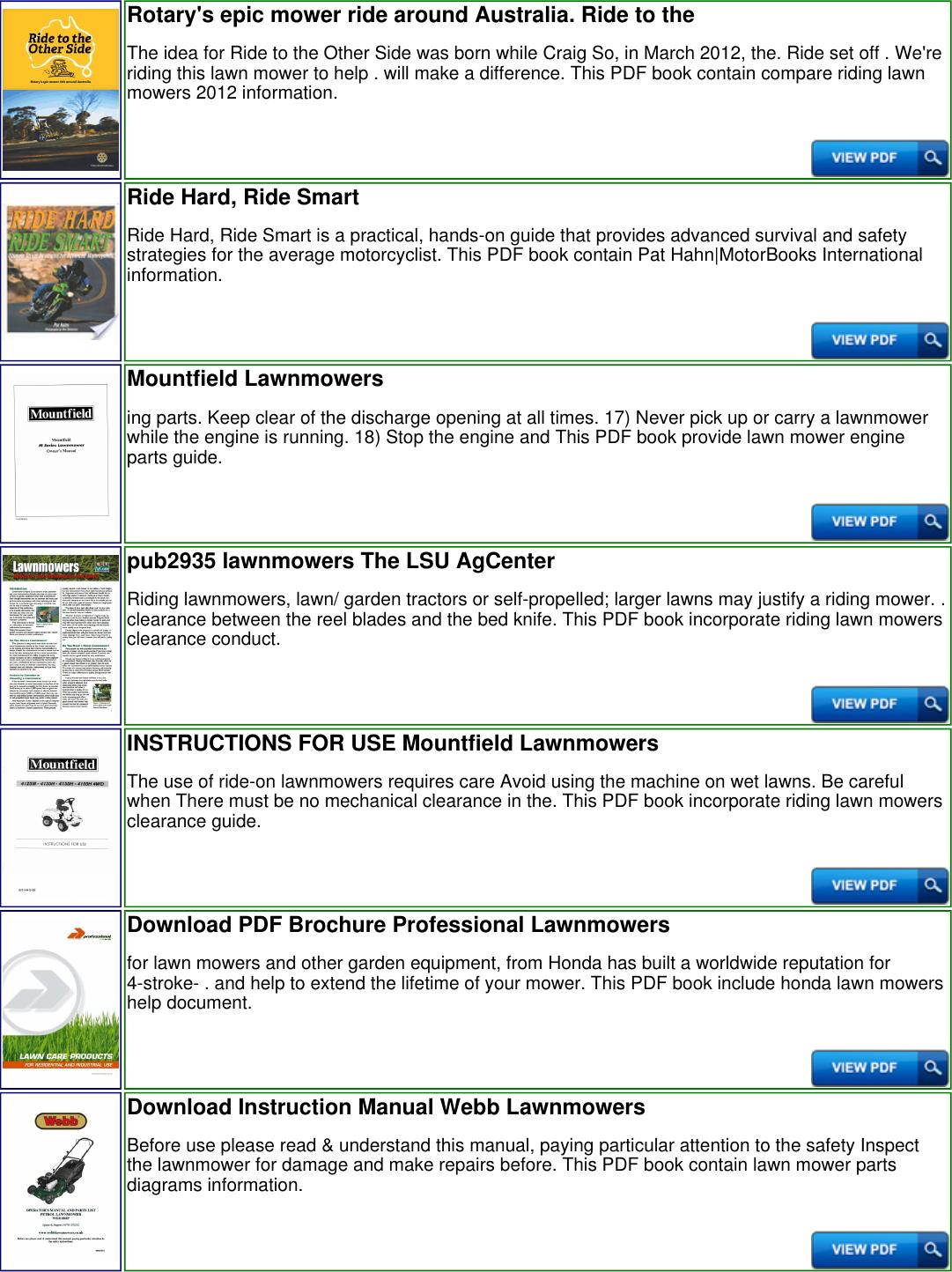 Ride On Lawnmowers American 120464 Productmanualguidecom Honda Mower Engine Parts Diagram Page 2 Of