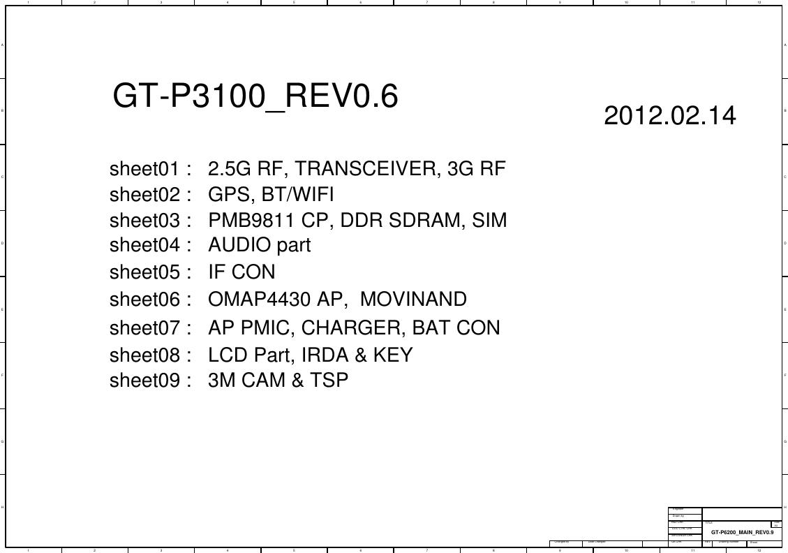 Page 1 of 11 - Samsung GT-P3100 - Schematics. Www.s-manuals.com. R0.6 Schematics