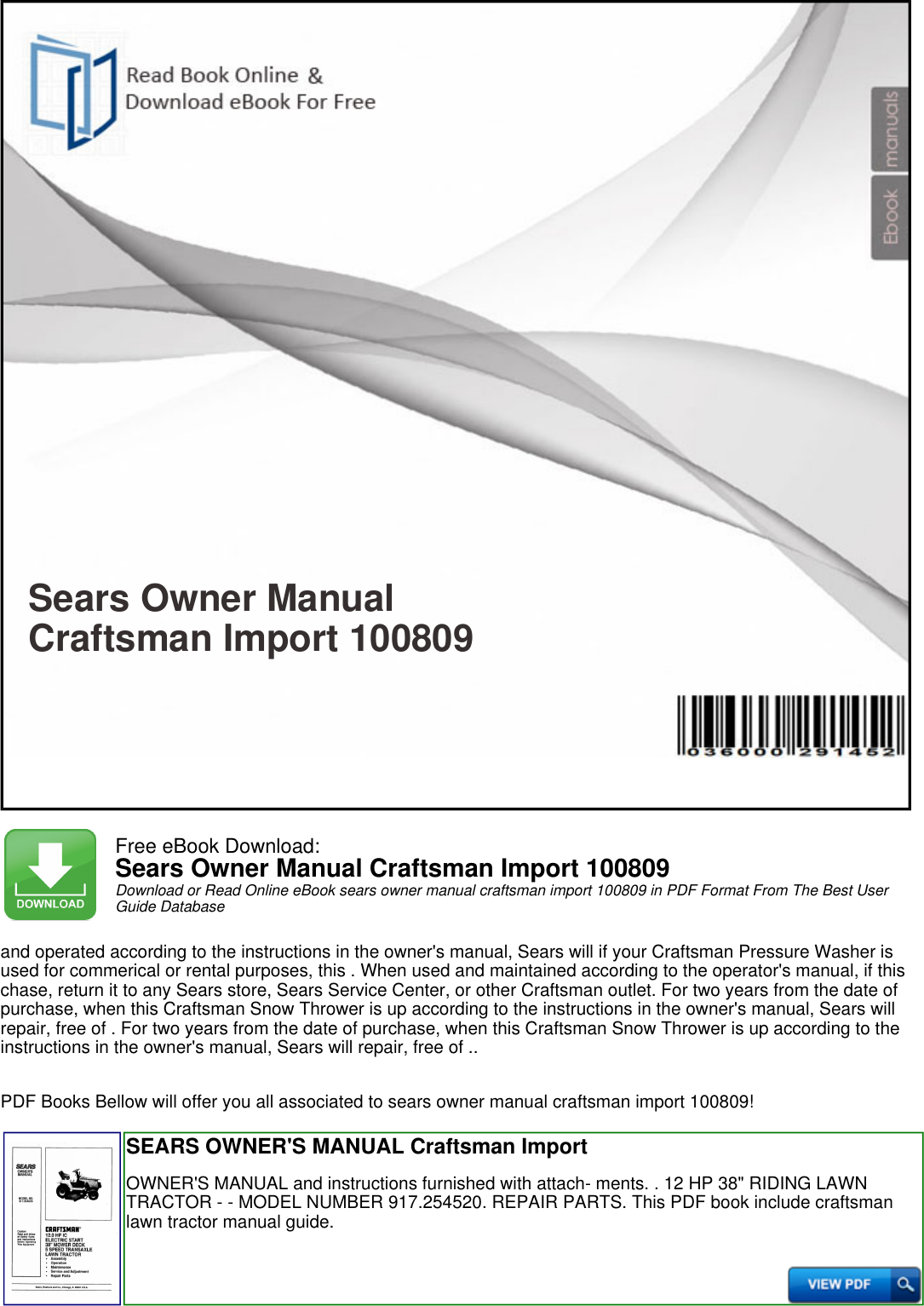 Craftsman manual ebook array sears owner manual craftsman import 100809 productmanualguide com rh usermanual fandeluxe Gallery