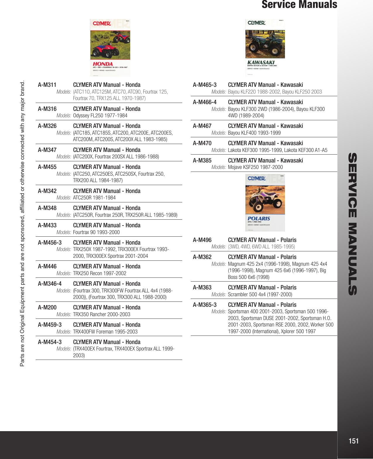 Clymer Repair Manuals for Yamaha BIG BEAR 4X4 400 2000-2004