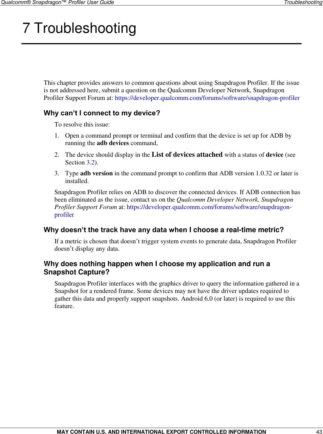 Qualcomm® Snapdragon™ Profiler User Guide Snapdragon Oct2018