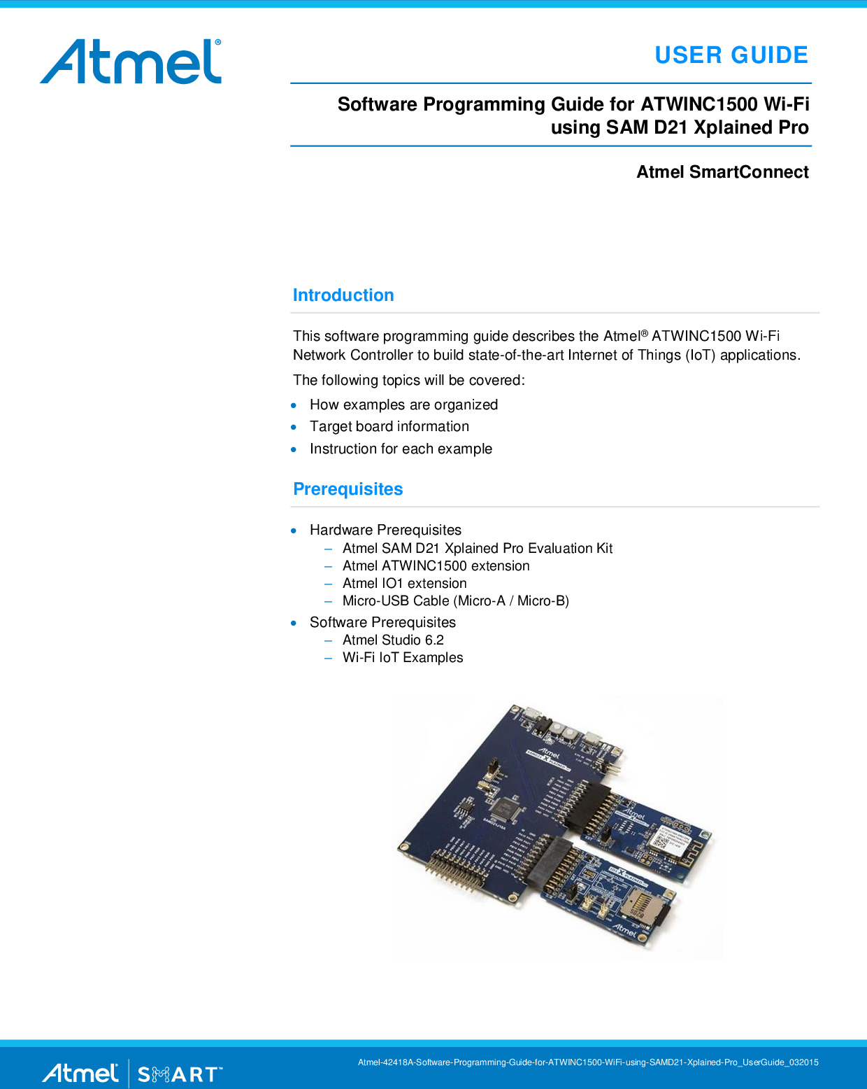 Software Programming Guide For ATWINC1500 Wi Fi Using SAM D21