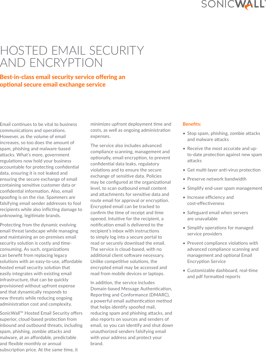 Sonicwall hosted email security and encryption datasheet 68217