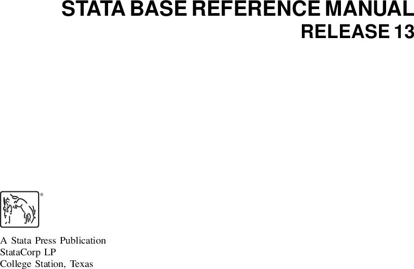 R] Base Reference Stata manual v13