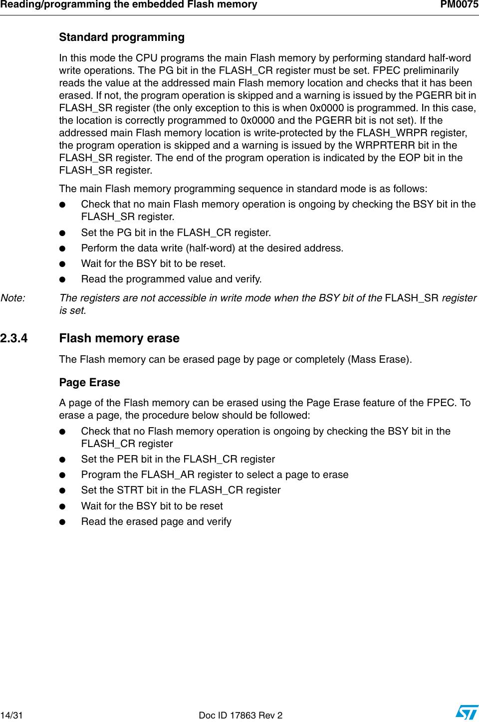 STM32F10xxx Flash Memory Microcontrollers Stm32f1 PM0075 Programming