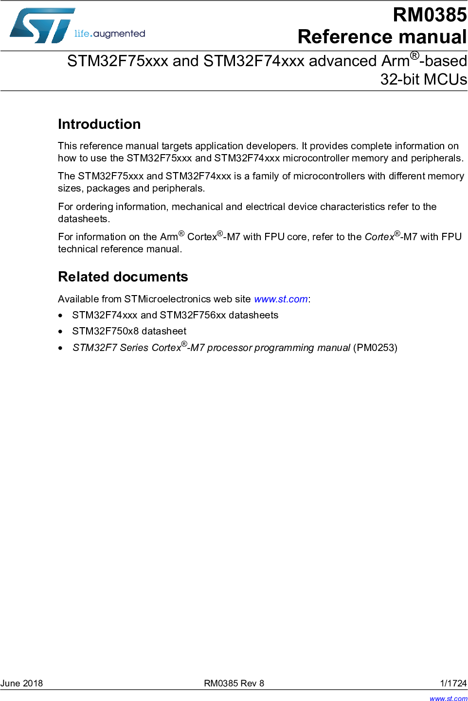 STM32F75xxx And STM32F74xxx Advanced Arm® based 32 bit MCUs