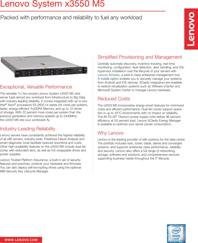 System x3550 m5 datasheet