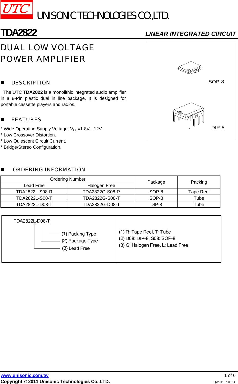 Tda2822 Datasheet S Manualscom Utc Stereo Audio Power Amplifier Circuit