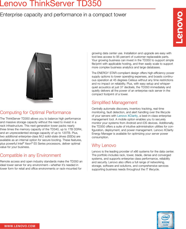 Lenovo ThinkServer TD350 datasheet
