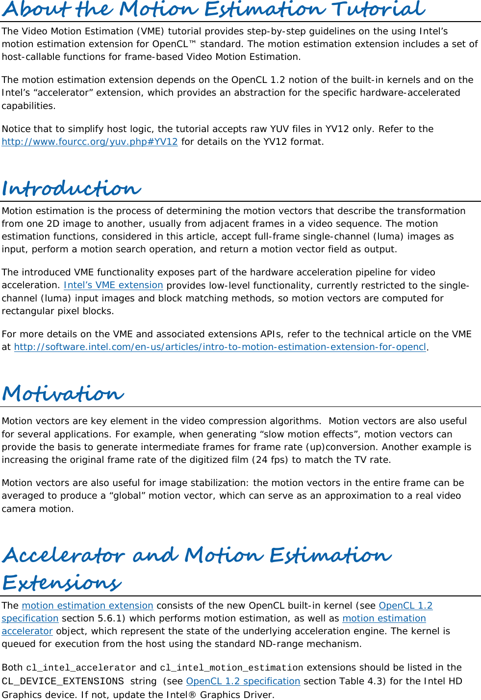 Video Motion Estimation Tutorial User Guide