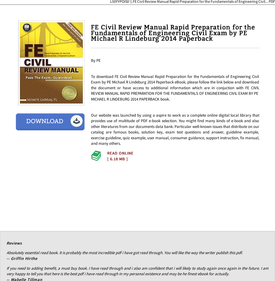 Read PDF \ FE Civil Review Manual Rapid Preparation For The