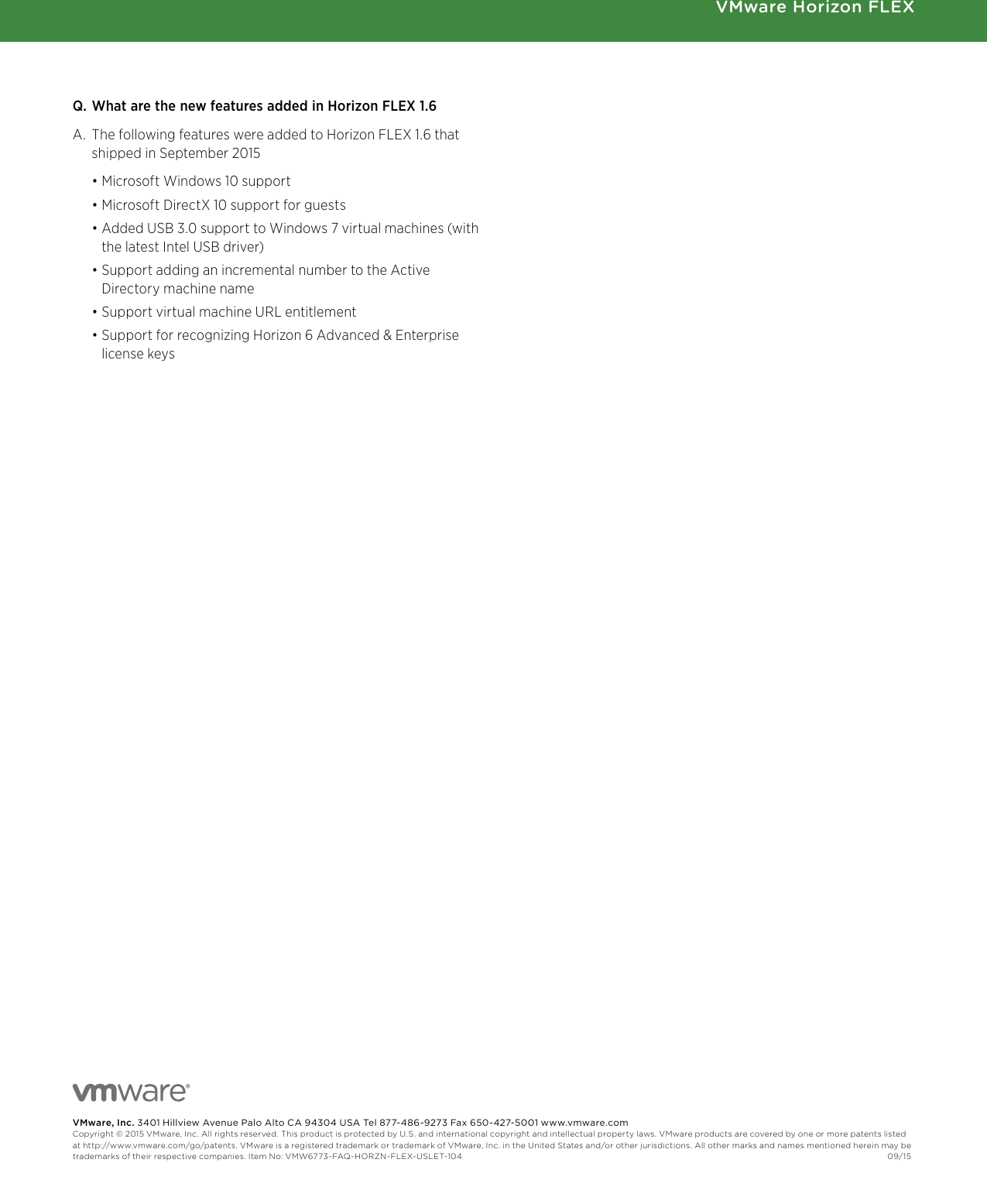 VMware Horizon FLEX FAQ