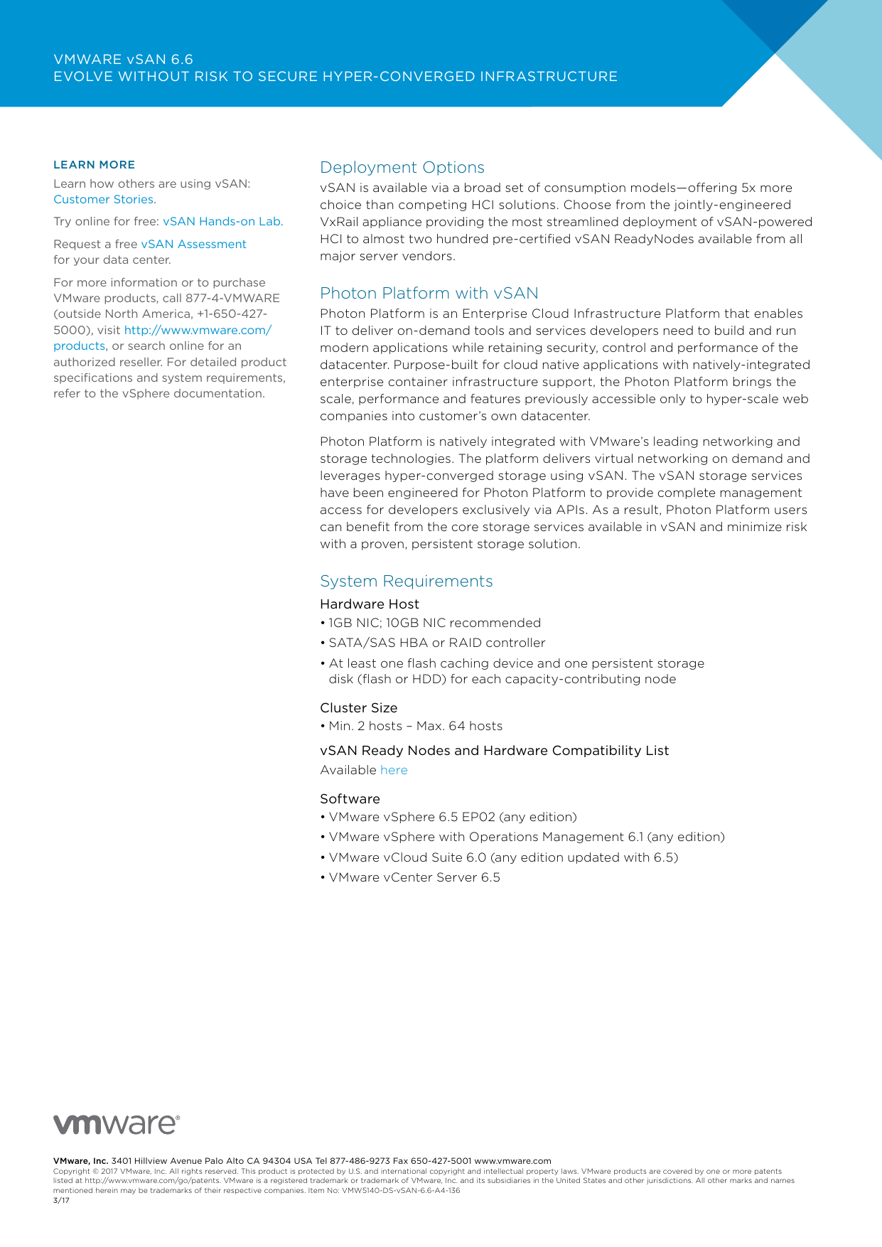 VMware VSAN 6 6 Datasheet virtual san
