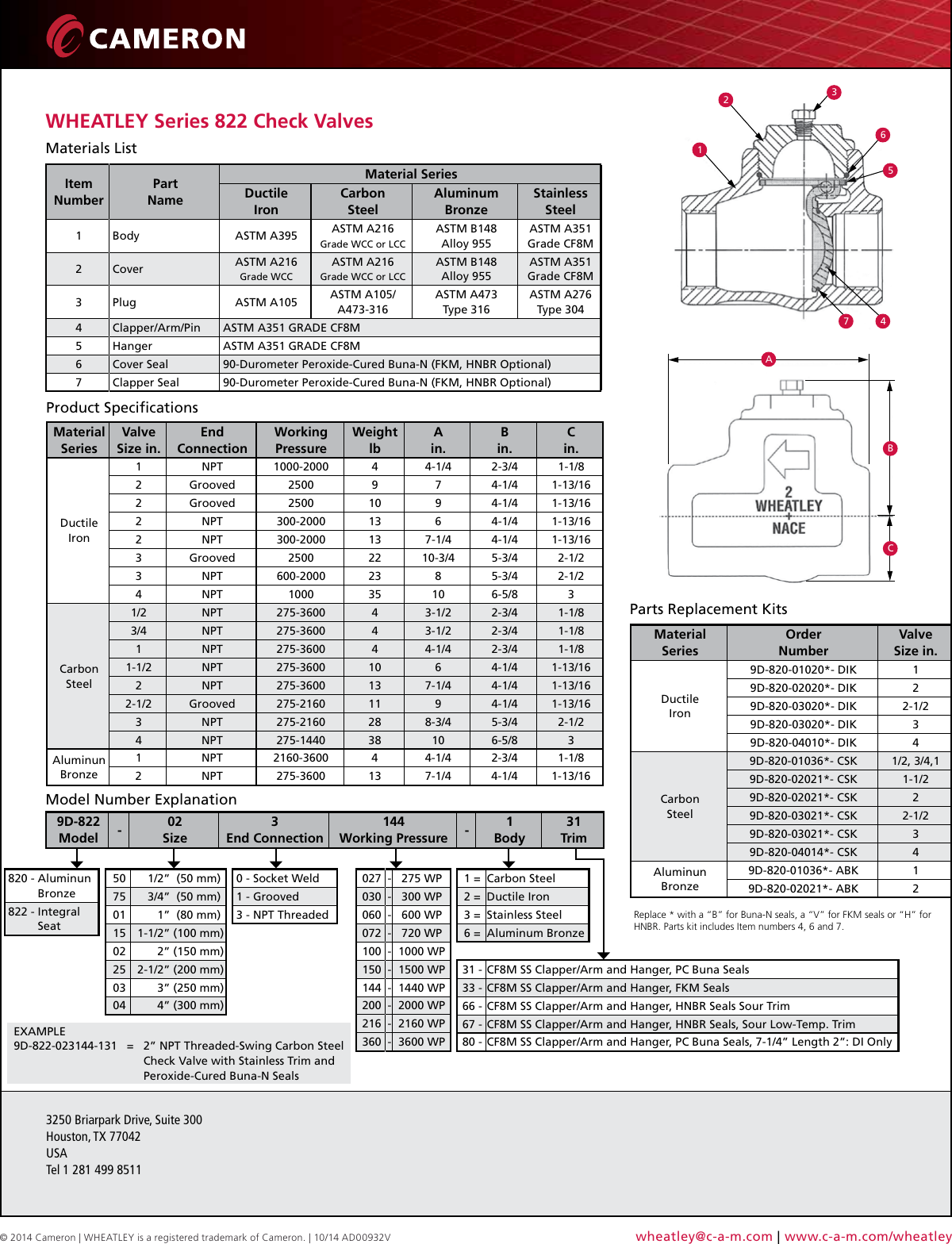 Wheatley series 822 check valves flyer