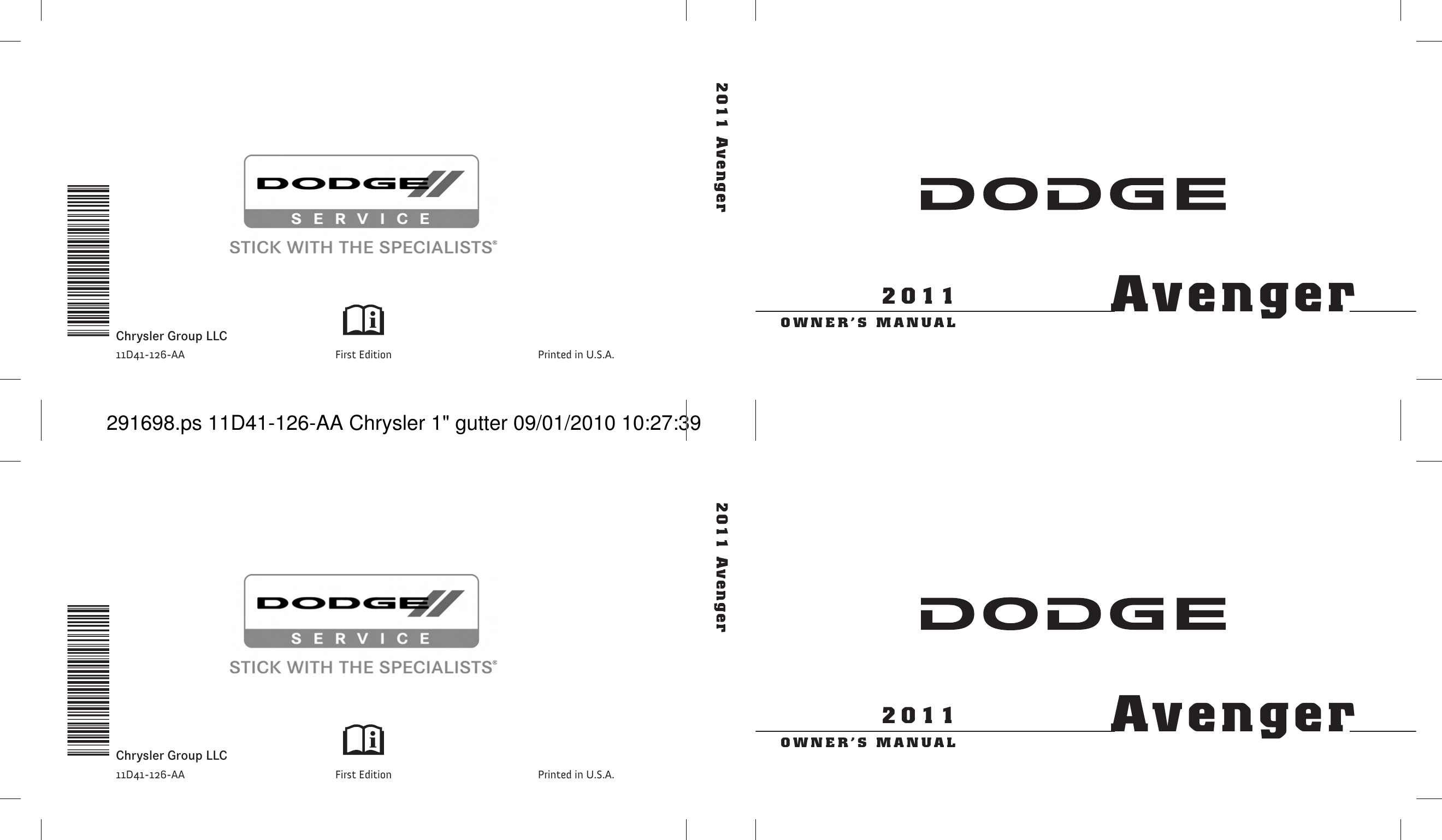 Dodge 2011 Avenger Owners Manual Owners Guide