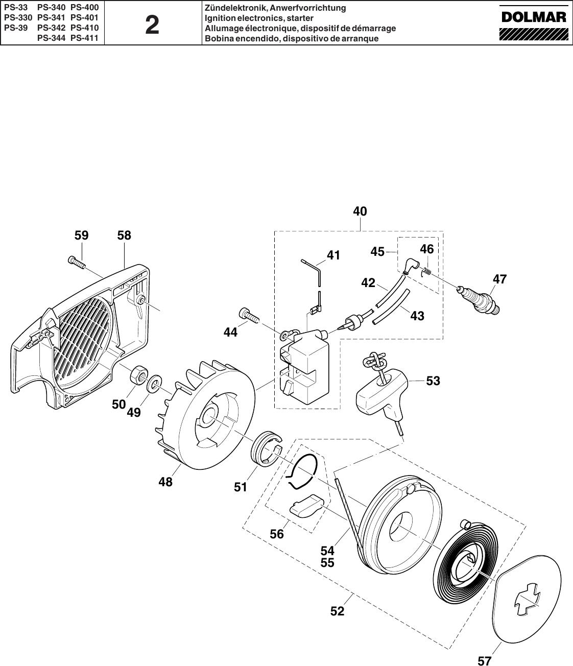 piston 44mm Kolben NEU PS 52 clip  kplt für Dolmar 111