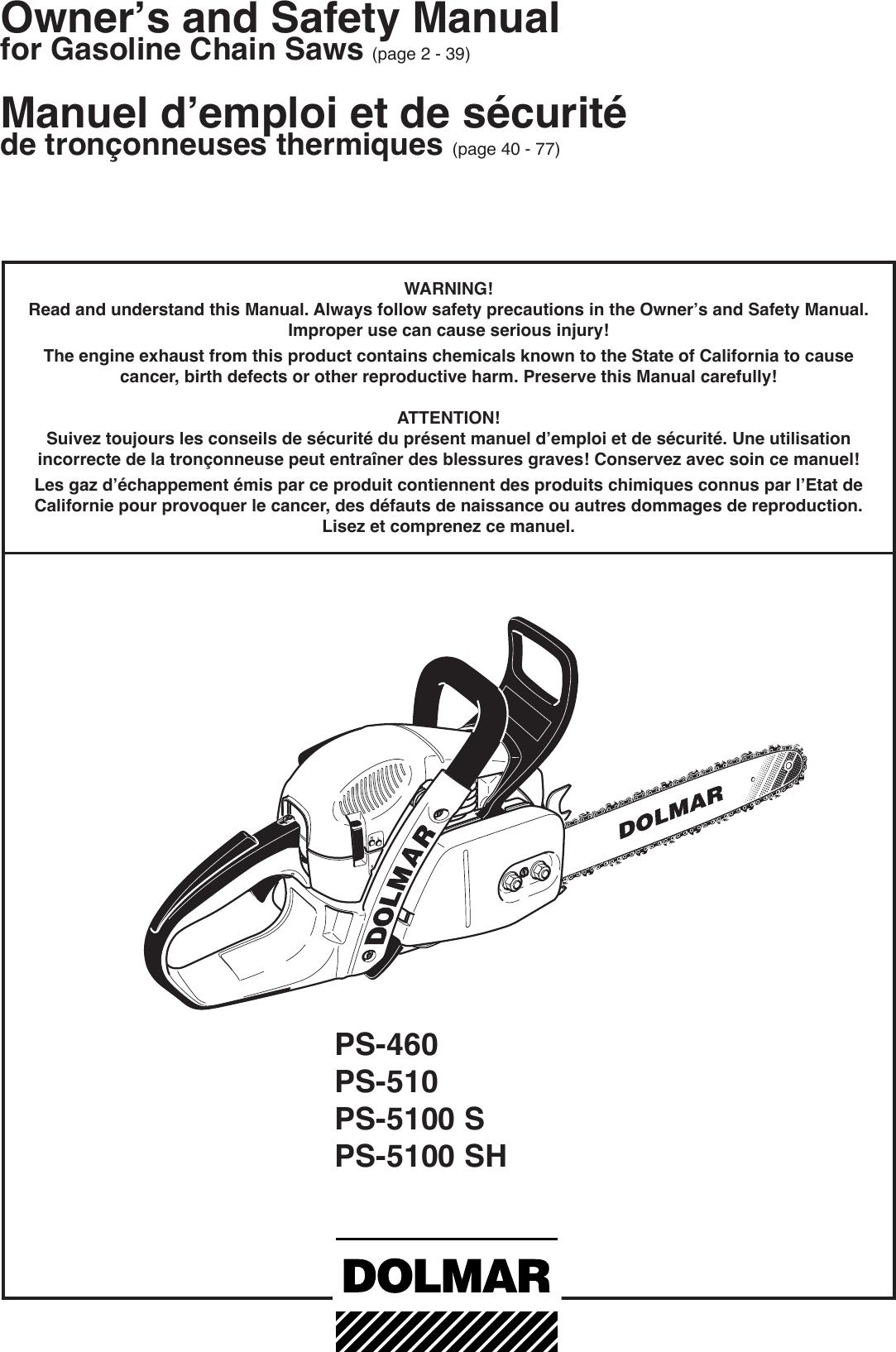 Dolmar Ps 460 Users Manual