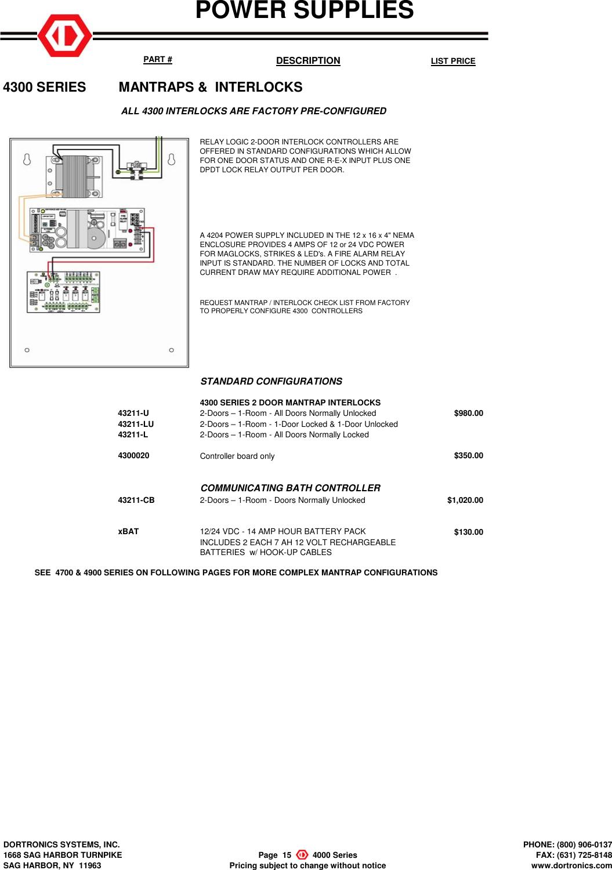 Dortronics DSI 2018 LIST PRICING Price Book
