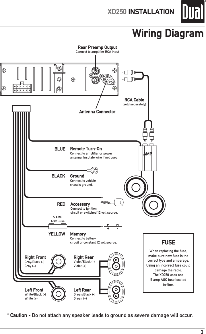 dual radio xd250 wiring diagram