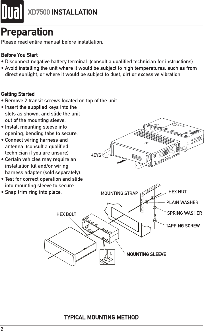 Xd7500 Wiring Diagram Page 4 And Schematics Dual Xd5250 Car Radio Stereo Harness Source 2 Of 12 Users Manual