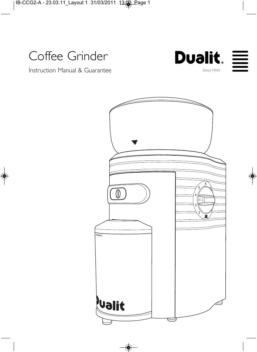 Dualit Coffee Grinder Ib Ccg2 A Users Manual 230311