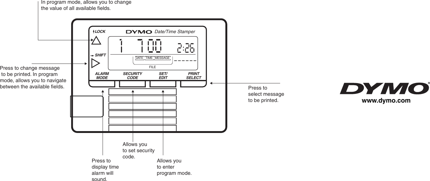 Dymo Electronic Date Time Stamper Users Manual Catalog Front