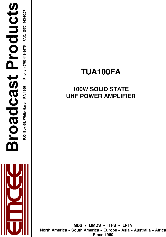 emcee broadcast tua100fa uhf lptv power amplifier user manual rh usermanual wiki AT&T Phone Manuals Verizon Cell Phone Manual