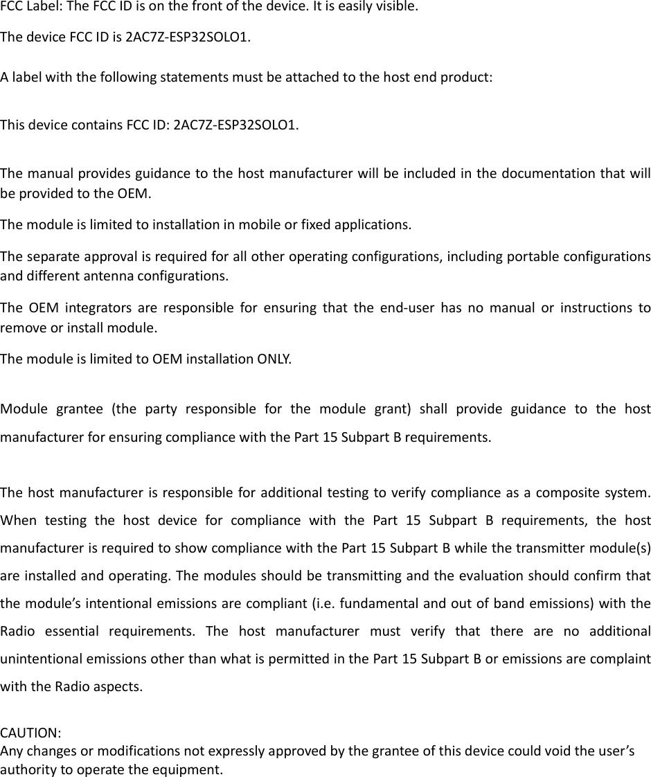 Page 13 of ESPRESSIF SYSTEMS ESP32SOLO1 Wi-Fi & Bluetooth Internet of Things Module User Manual ESP32 SOLO 1 OEM Installation Manual  EN