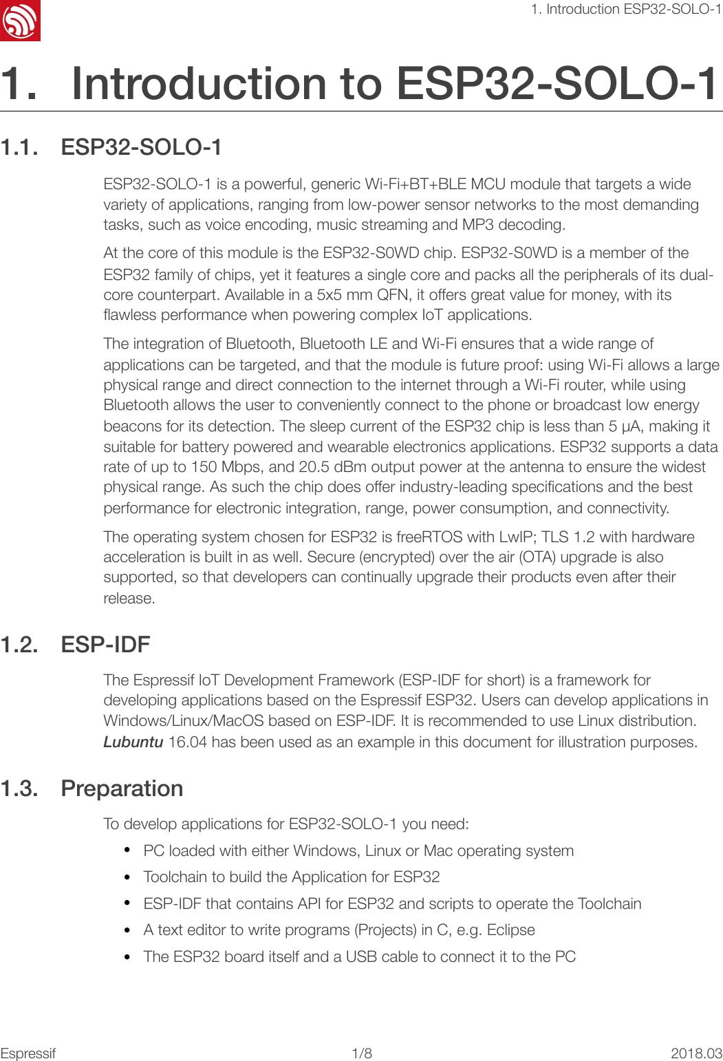 Page 4 of ESPRESSIF SYSTEMS ESP32SOLO1 Wi-Fi & Bluetooth Internet of Things Module User Manual ESP32 SOLO 1 OEM Installation Manual  EN