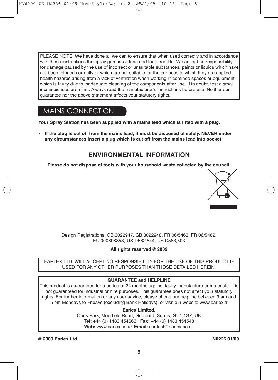 Earlex Paint Sprayer 6900 Users Manual Layout 2
