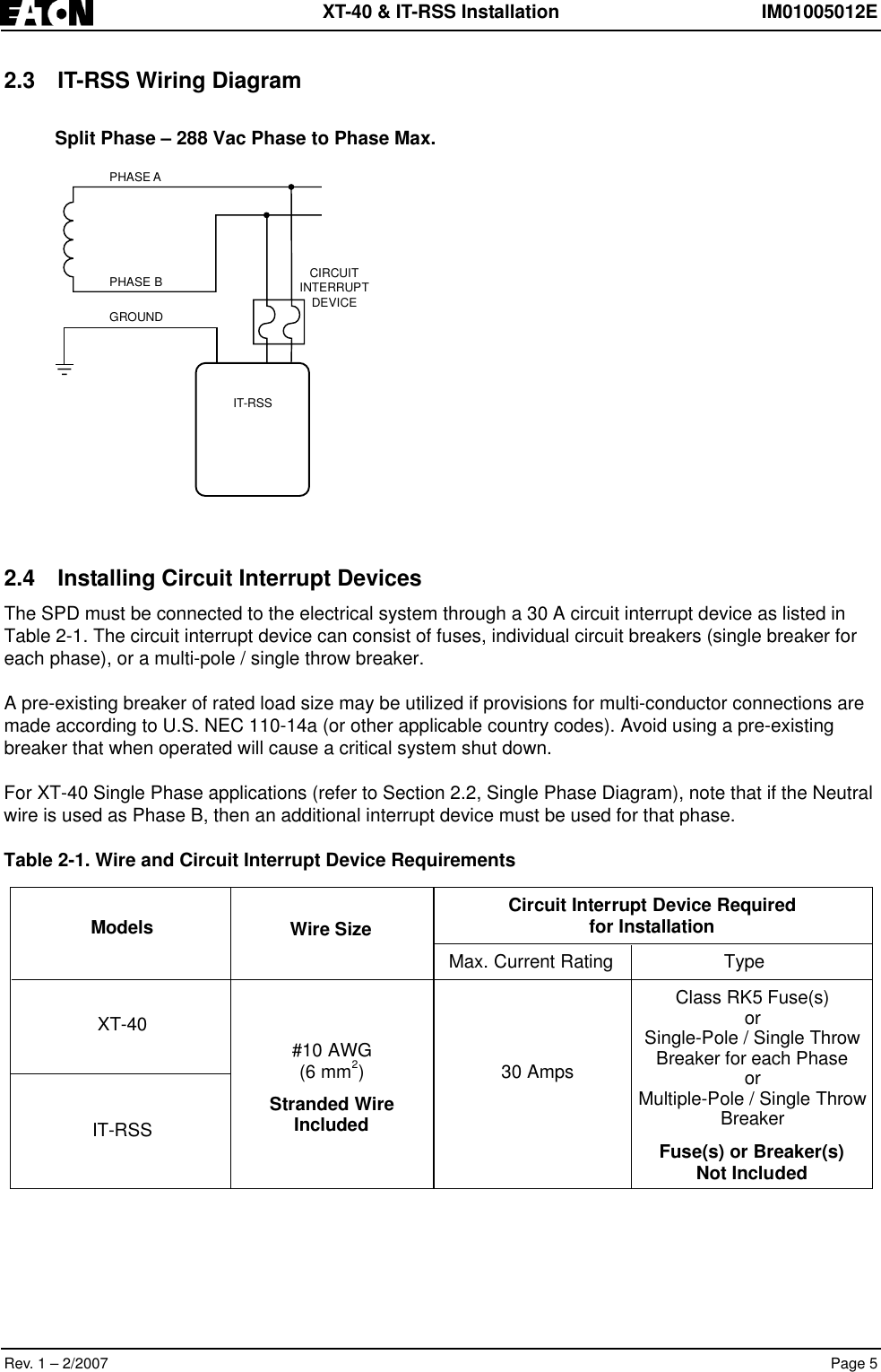 Eaton Electrical Im01005012e Users Manual 2 Single Pole Breaker Wiring Diagram Page 7 Of 12