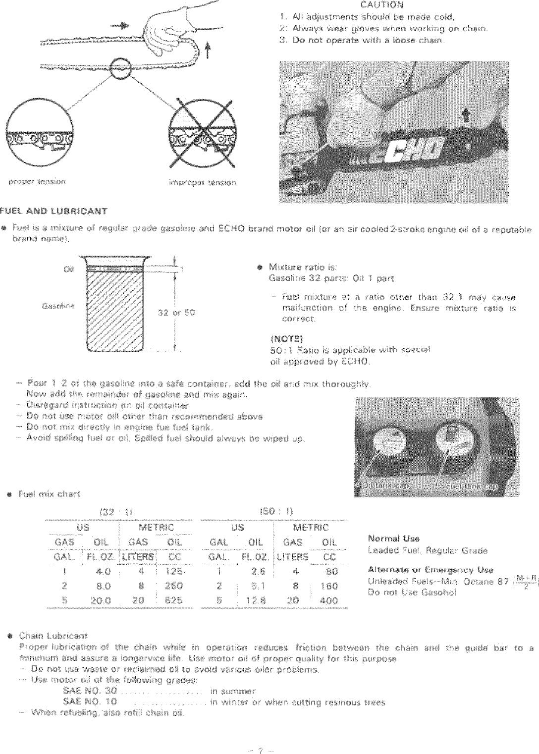 Echo CS 330EVL User Manual CHAIN SAW Manuals And Guides L0706086
