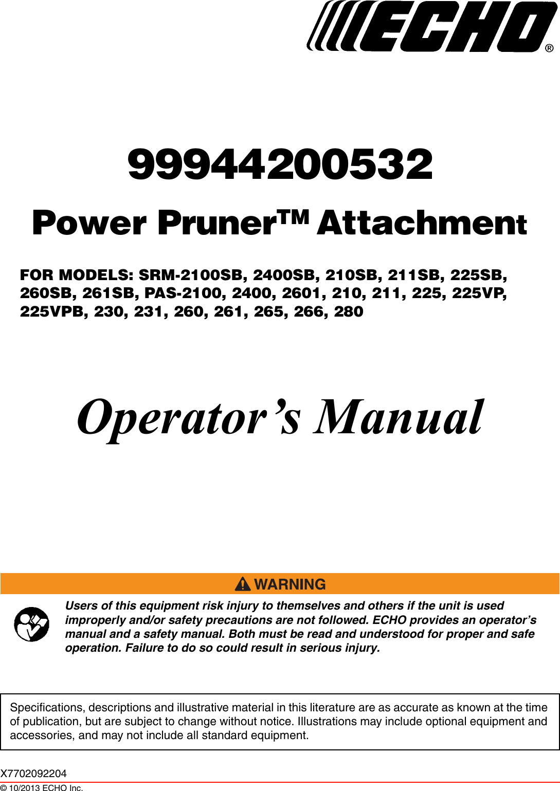 echo srm-2400 owners manual