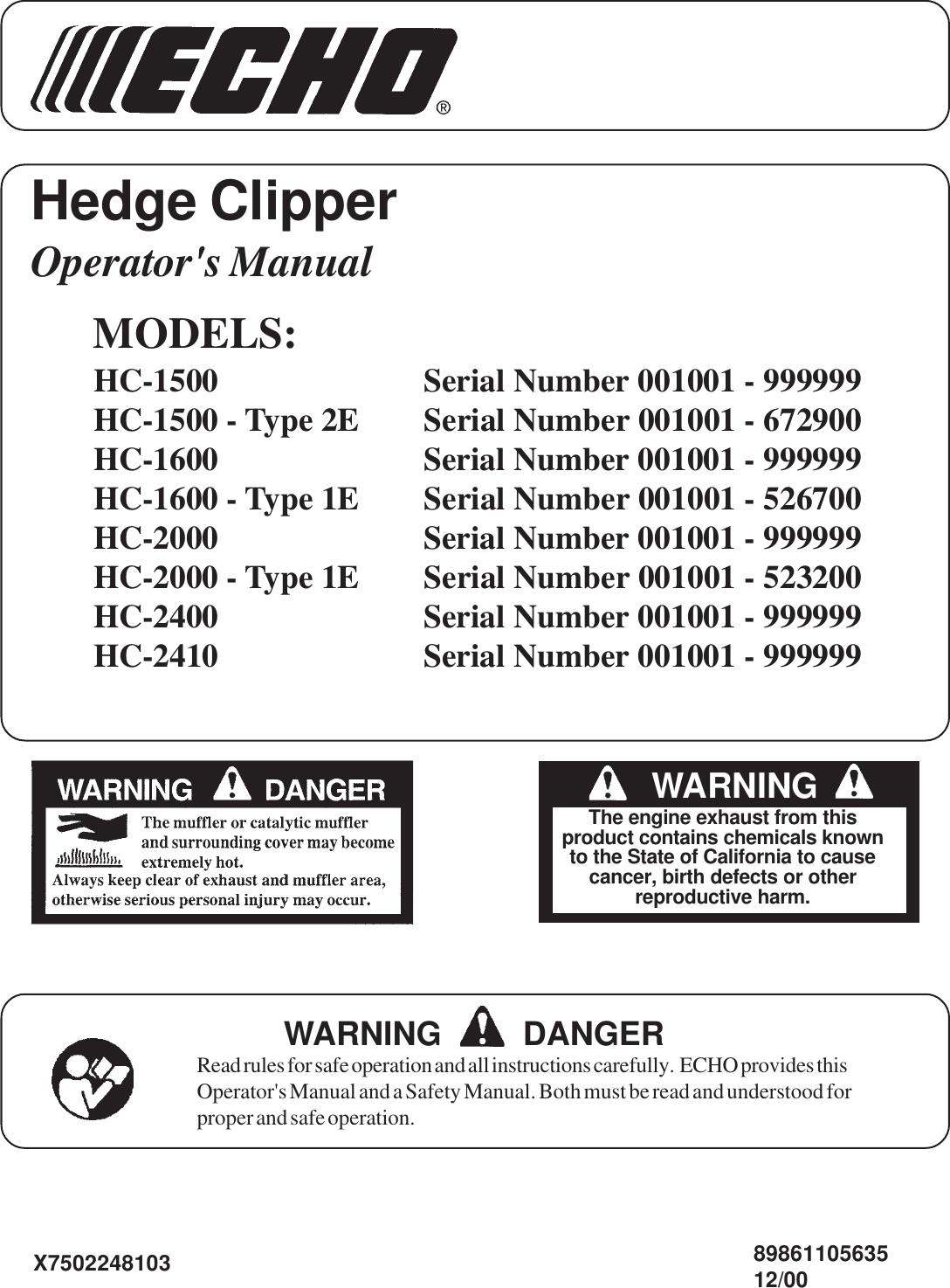 Echo Hc 2410 Users Manual Hces_122000