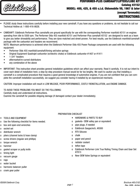 Edelbrock 2152 Performer Camshaft For Olds qxp User Manual
