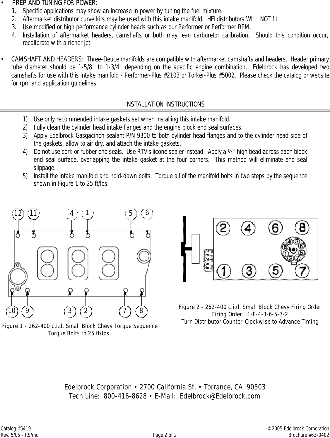 Edelbrock 5419 Users Manual C 357 B Three Deuce Intake Manifold For Chevy 400 Firing Order Page 2 Of