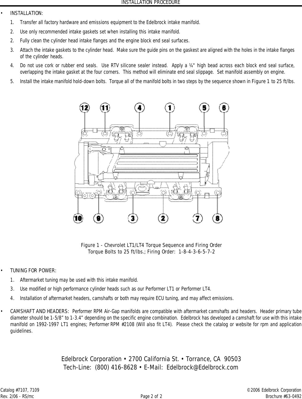 Edelbrock 7107 Users Manual 7107, 7109 Performer RPM LT1