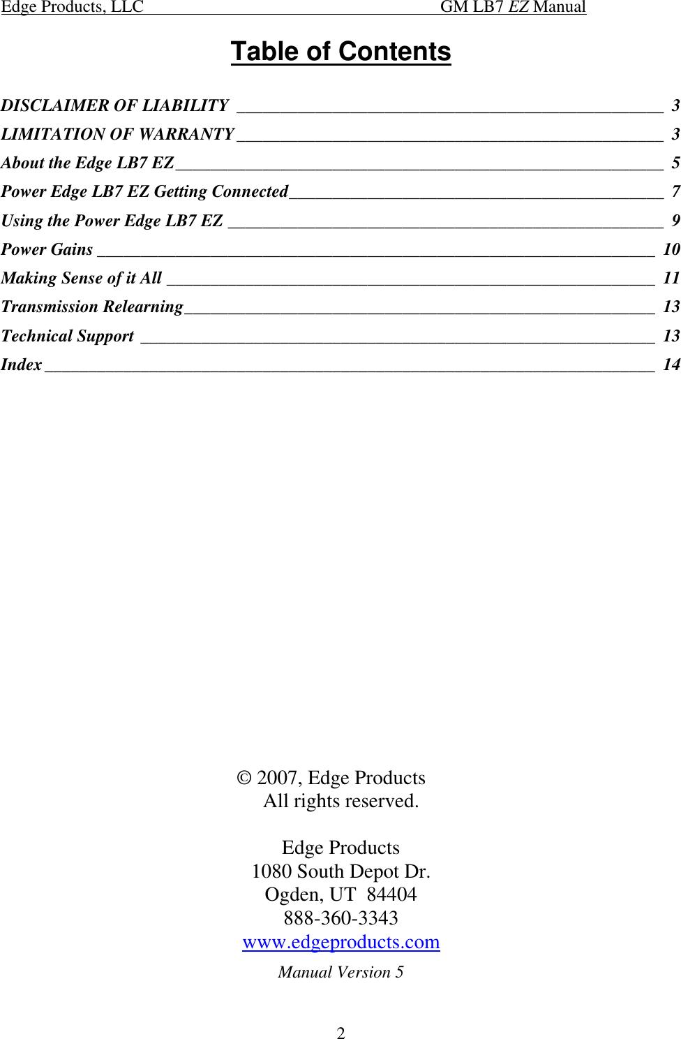 Edge Tech Gm Duramax 20200 Users Manual Installation