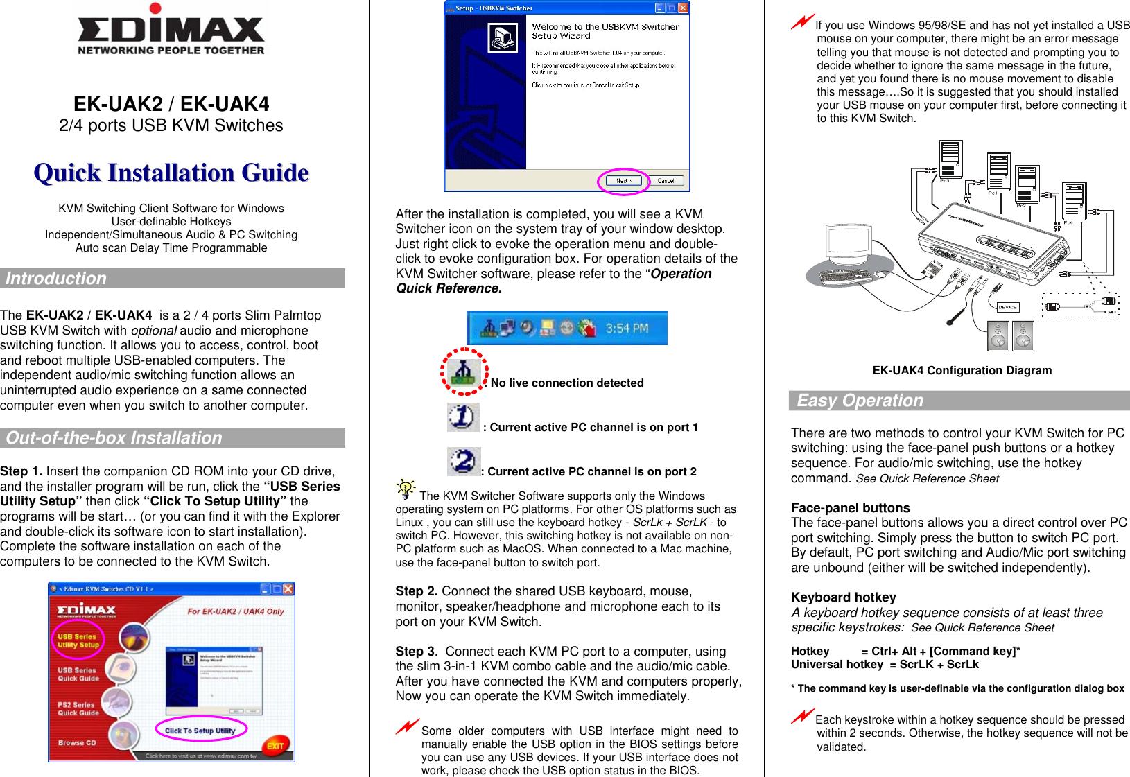 Edimax Technology Switch Ek Uak4 Users Manual (Uniclass Logo)