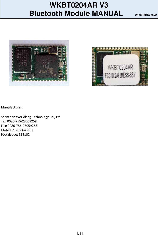Effegibi Srl Ess Ssy Bluetooth Module Wkbt0204ar User Manual Circuit