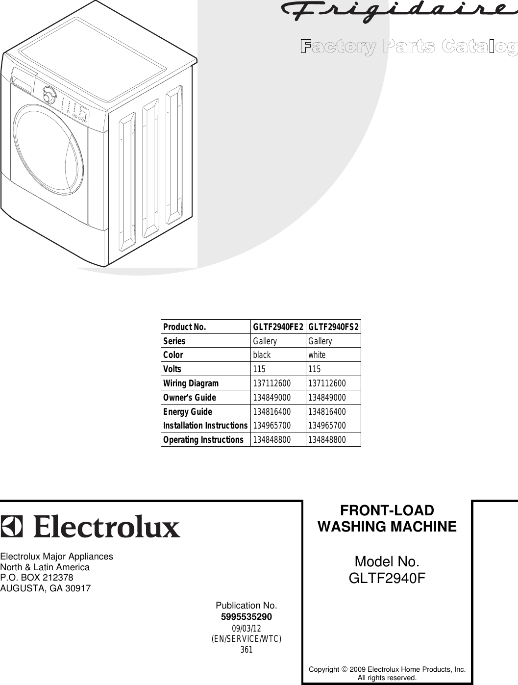 Electrolux Gibson Washer Gltf2940fe2 Users Manual To Begin A Parts Washing Machine Wiring Diagram Catalog Click Load Contents In The Top Menu Bar