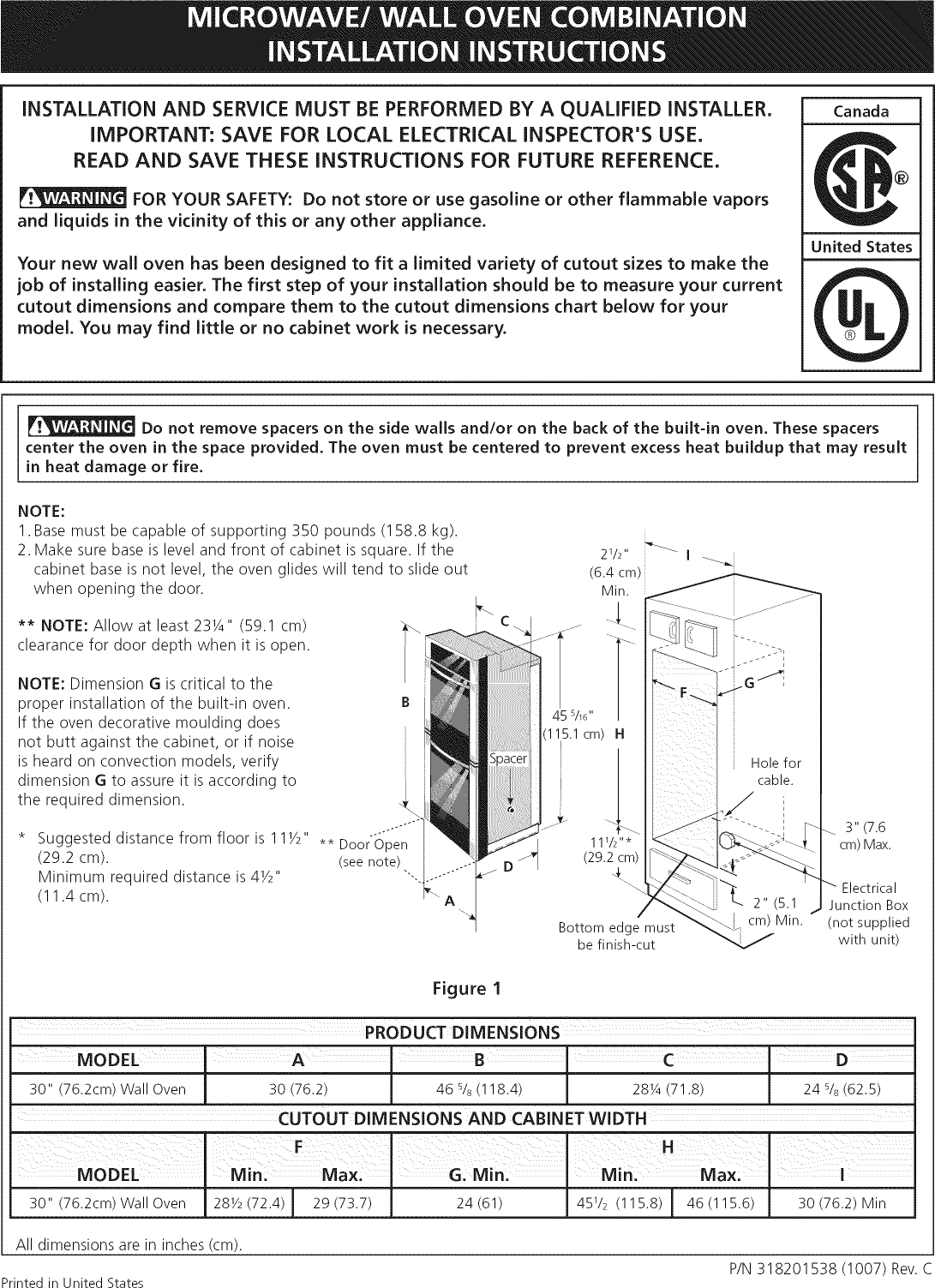 Electrolux E30mc75jps3 User Manual Wall Oven Microwave Combo Manuals Wiring Diagram And Guides 1102508l