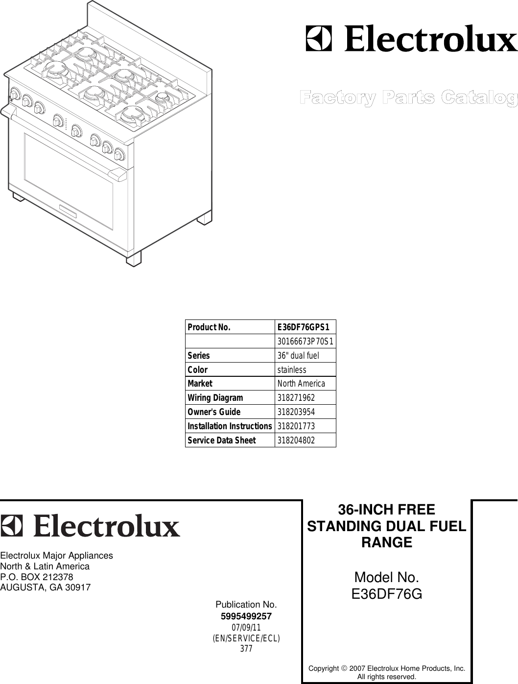 Electrolux 30166673p70s1 Users Manual 5995499257 Dual Fuel Wiring Diagram