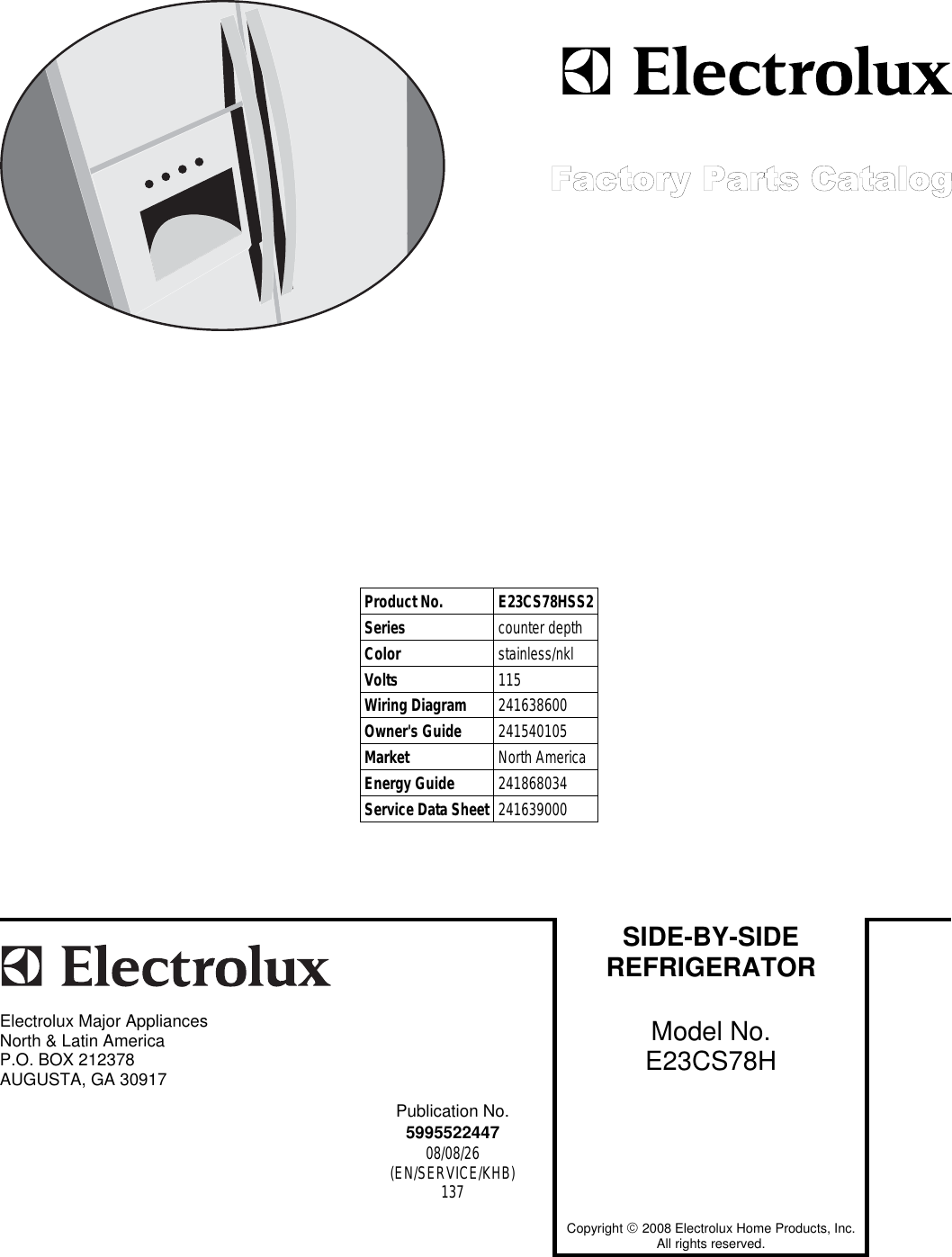 Electrolux E23cs78h Users Manual To Begin A Parts Catalog Click Copyright 2008 Ab Cable And Wiring All Rights Reserved Load Contents In The Top Menu Bar
