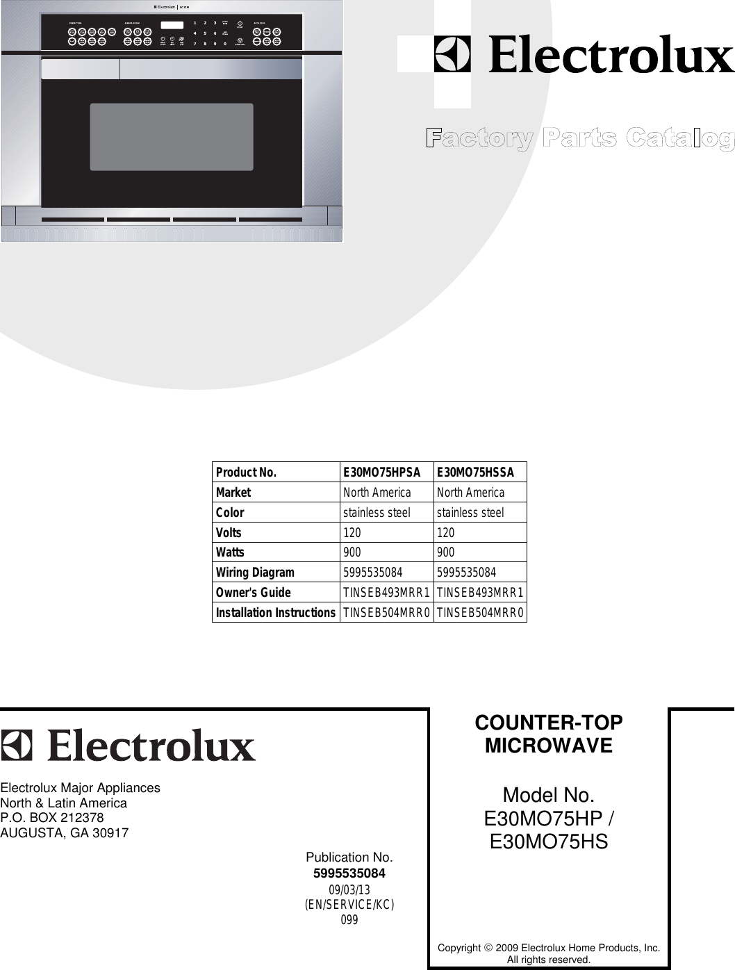 Electrolux E30mo75hp Users Manual To Begin A Parts Catalog Click Wiring Schematic Load Contents In The Top Menu Bar