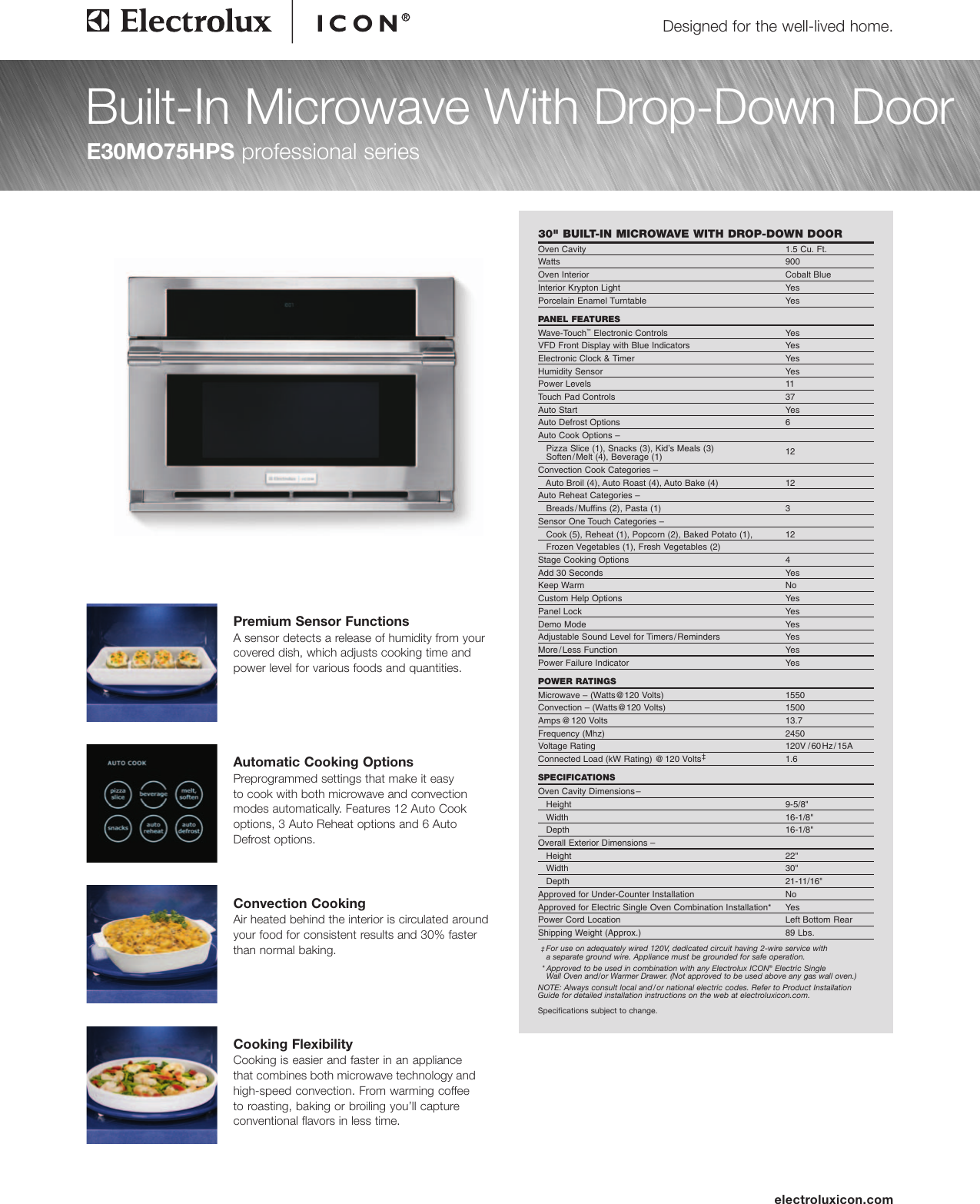 Page 1 Of 4 Electrolux Microwave Oven E30mo75hps