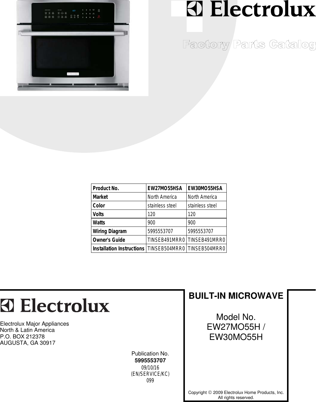 Electrolux Ew27mo55hsa Users Manual To Begin A Parts Catalog Click Wiring Diagram Photos For Help Your Load Contents In The Top Menu Bar