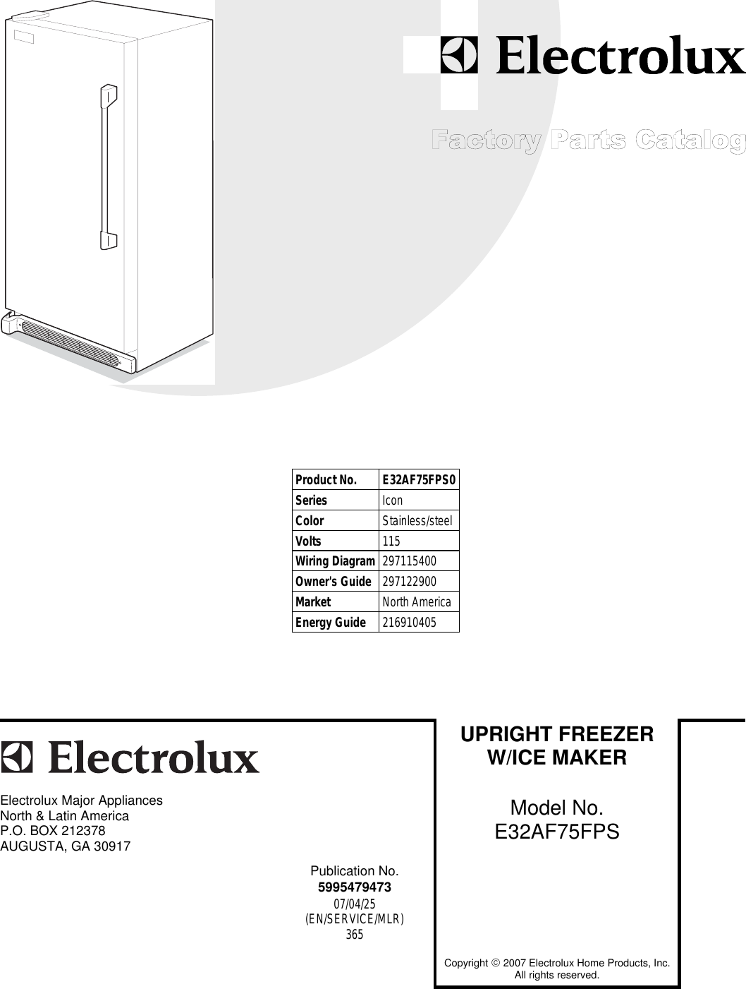 Electrolux Icon E32af75fps0 Users Manual Factory Parts Catalog For Refrigerator Wiring Diagram E32af75fps And E32ar75fps