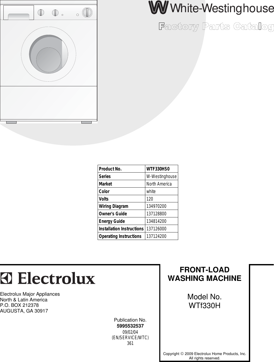 Electrolux Wtf330hs0 Users Manual To Begin A Parts Catalog Click Front Loader Washing Machine Wiring Diagram Load Contents In The Top Menu Bar