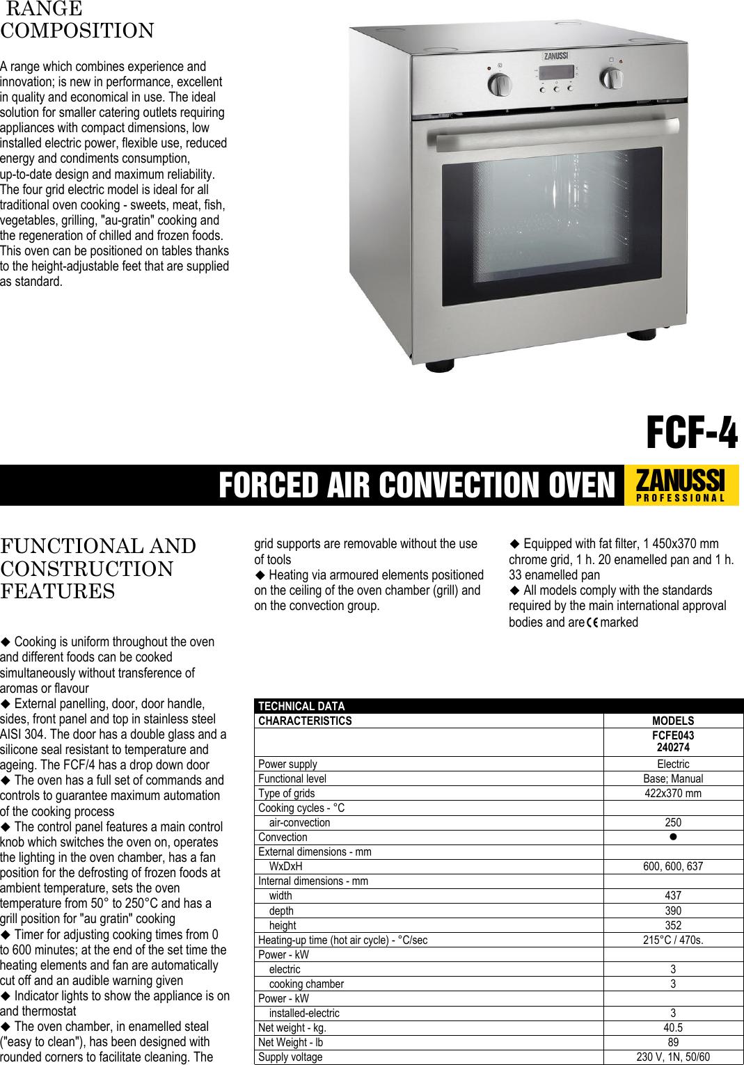 electrolux zanussi professional fcf 4 users manual forced air rh usermanual wiki electrolux double oven user guide electrolux icon oven user guide